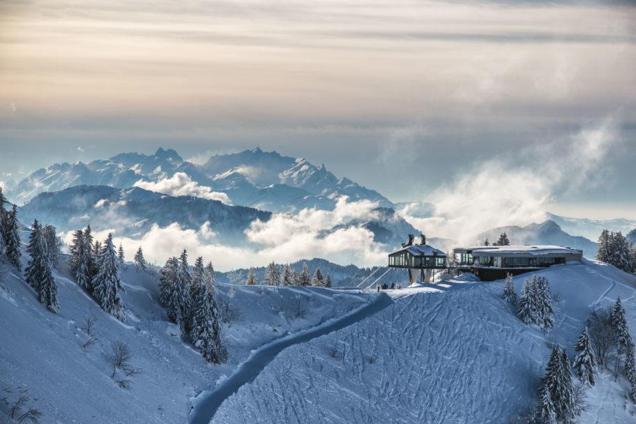 Bergstation Baumgarten mit Alpstein Winter (c) Michael Meusburger - Seilbahn Bezau